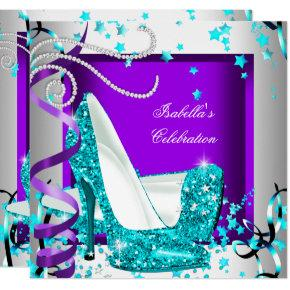 Any Occasion Party Glitter Teal Purple High Heels