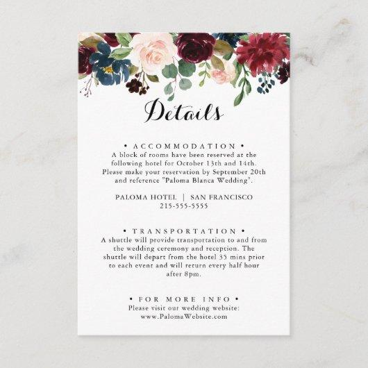 Autumn Rustic Burgundy Calligraphy Wedding Details Enclosure