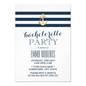Gold Anchor Navy Stripes Nautical