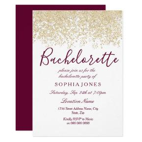 Gold Glitter Burgundy Invite