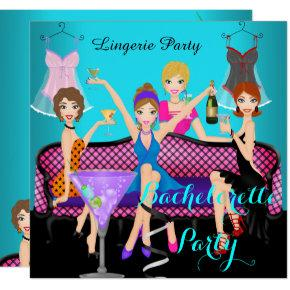 Bachelorette Party Teal Pink Lingerie Cocktails Invitation