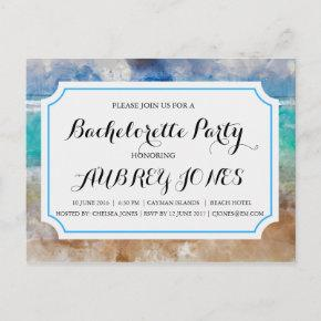 Beach or Tropical Island Bachelorette Party Invitation Postcard