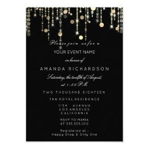 Black Gold Glitter Drips Birthday Graduation Party