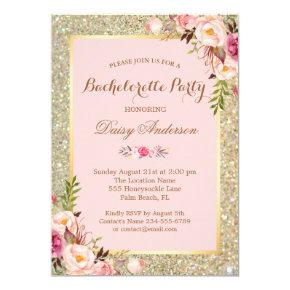 Blush Pink Bachelorette Party Gold Glitter Floral Invitation