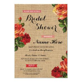 Bridal Shower Floral Red Roses Burlap Invite