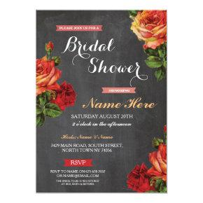Bridal Shower Floral Red Roses Chalk