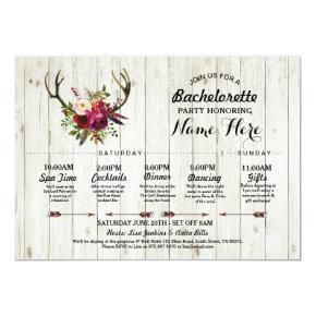 Bridal Shower Itinerary  Antler Rustic