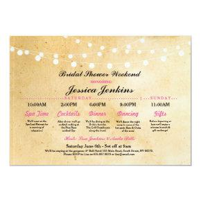 Bridal Shower Itinerary Rustic Pink