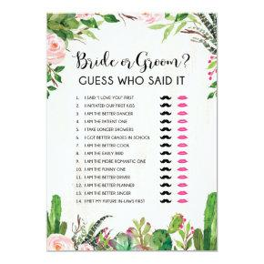 Bride or Groom He or She Fiesta Bridal Shower Game