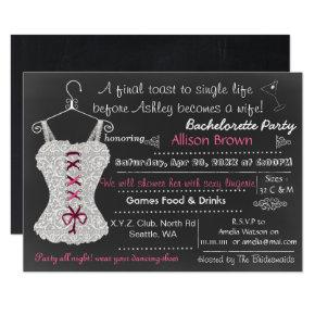Chalkboard pink Lace Lingerie Shower Bachelorette Invitation