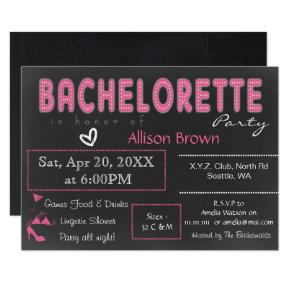 Chalkboard pink Lingerie Shower Bachelorette Invitation