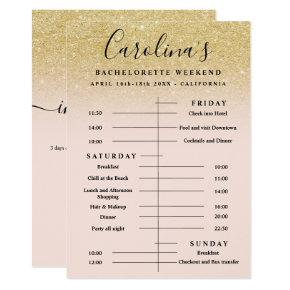 Chic gold glitter time line  weekend