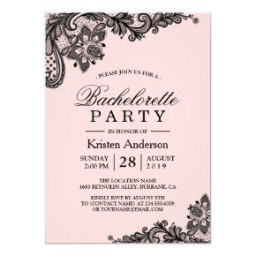 Classy Pink Black Lace Bachelorette Party Invitation