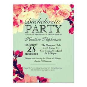 Elegant Cherry Blossoms on Rustic Teal Invitation