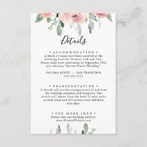 Elegant Pink Blush Floral Wedding Details Enclosure