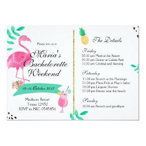 Vintage Waves Shore Weekend Getaway Bachelorette Party Invitations