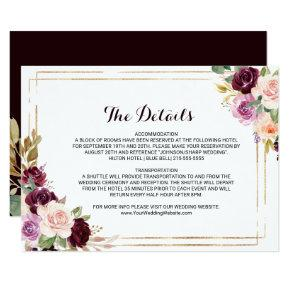 Geometric Burgundy Wedding Details Insert