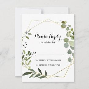 Geometric Gold Tropical Green Calligraphy RSVP
