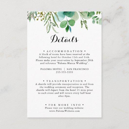 Greenery Eucalyptus Calligraphy Wedding Details Enclosure