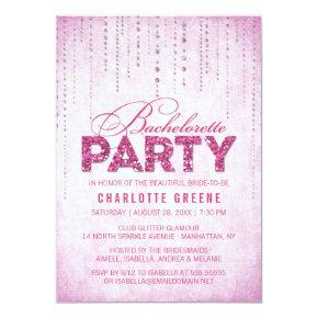 Hot Pink Glitter Look Bachelorette Party Invitation