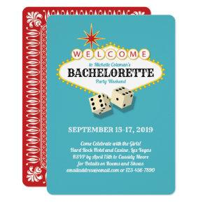 Las Vegas Marquee Bachelorette Party Teal Invitation