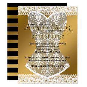 Lingerie Shower Bridal Bachelorette Party Gold Invitation