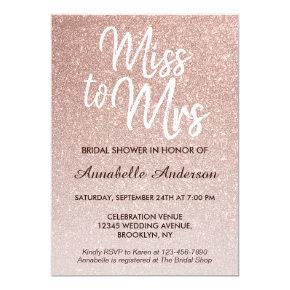 Miss to Mrs Pink Rose Gold Glitter Bridal Shower