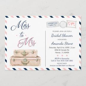 Miss To Mrs World Travel Bridal Shower Navy Pink
