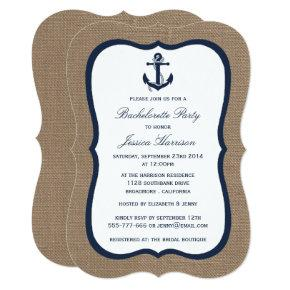 Navy Nautical Anchor On Burlap