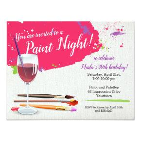 Paint Night, Paint and Sip Wine Glass Canvas Party