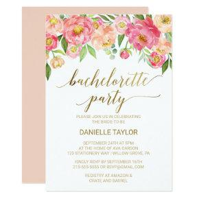 Peach and Pink Peony Flowers Bachelorette Party Invitation