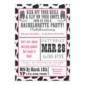 Pink Cow Print Cowgirl  Invite