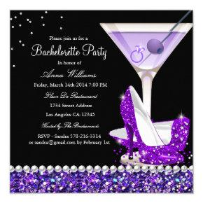 Purple Glitter Pearl  Invite
