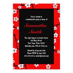 Red Cherry Blossom with Corset Bachelorette Party Invitation