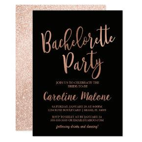 Rose Gold Bachelorette Party Invitation | Glitter