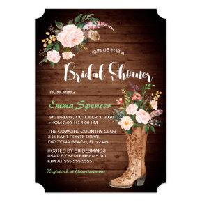 Rustic Boho Cowgirl Floral Boots Bridal Shower ll