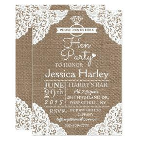 Rustic Burlap & White Lace Hen Party