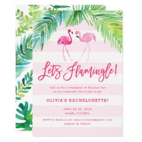 Tropical Flamingo Birthday or  Invite