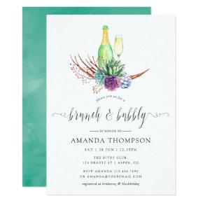 Watercolor Desert Succulents Brunch and Bubbly