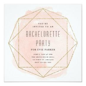 Watercolor faux glitter  invite