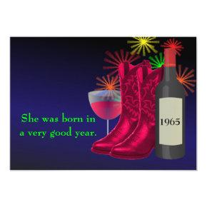 Western Party Cowboy Boots And Wine Birthday