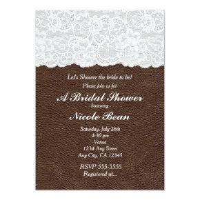 White Lace & Brown Leather Rustic Bridal Shower
